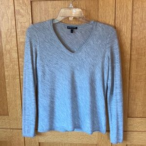 Eileen Fisher 100% Cashmere Gray V-neck Sweater PS